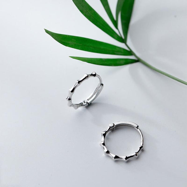 Sterling Silver Bamboo Knot Hoop Earrings - 925 Stud Earrings - 925 Real Silver Earrings - Playful Silver Earrings - Geometric Round Hoop Earrings Lux & Rose