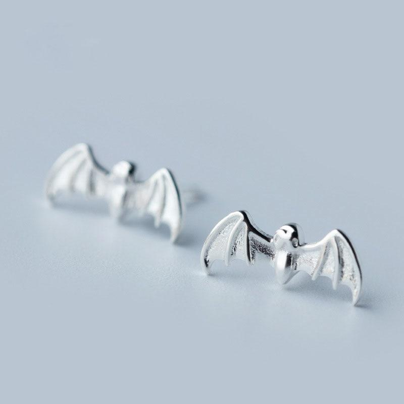 Sterling Silver Bat Stud Earrings - 925 Real Silver Earrings - Playful Silver Earrings Lux & Rose