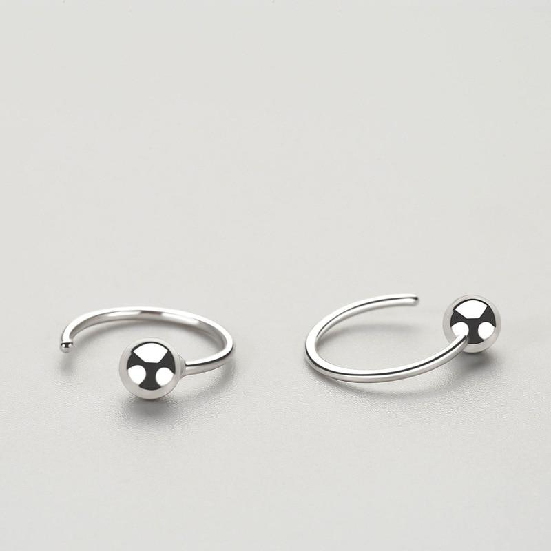 Sterling Silver Bead Hoop Earrings - 925 Stud Earrings - 925 Real Silver Earrings - Playful Silver Earrings Lux & Rose