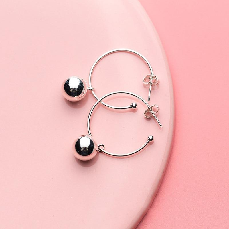 Sterling Silver Beads Hoop Earrings - Hoop Dangle Earrings - 925 Real Silver Earrings - Playful Silver Earrings Lux & Rose
