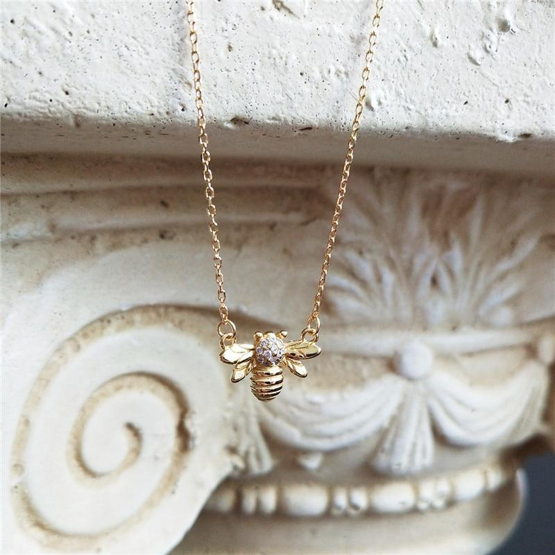 Sterling Silver Bee Honeycomb Pendant Necklaces - 925 Real Silver Necklaces - Gold Plated Layer Necklaces Lux & Rose bee