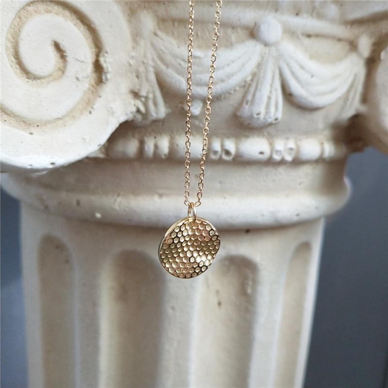Sterling Silver Bee Honeycomb Pendant Necklaces - 925 Real Silver Necklaces - Gold Plated Layer Necklaces Lux & Rose Round