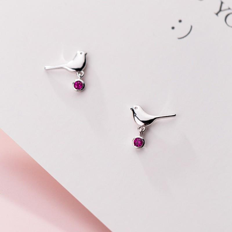 Sterling Silver Bird Stud Earring - Pink Bird Ear Stud - Tiny Stud Earring - Cute Silver Studs - Dove Earring - Sparrow Earring Lux & Rose