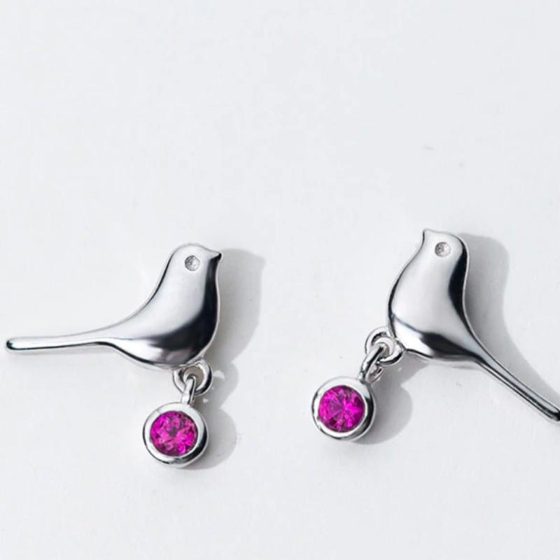 Sterling Silver Bird Stud Earring - Pink Bird Ear Stud - Tiny Stud Earring - Cute Silver Studs - Dove Earring - Sparrow Earring Lux & Rose Default Title
