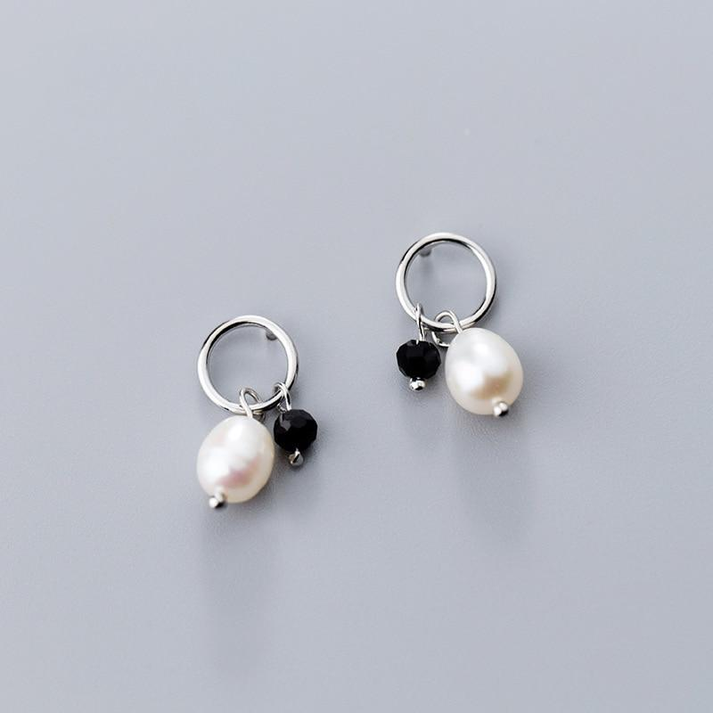 Sterling Silver Black Crystal Hoop Pearl Dangle Earrings - 925 Real Silver Earrings - Playful Silver Earrings - Party Mature Earrings Lux & Rose