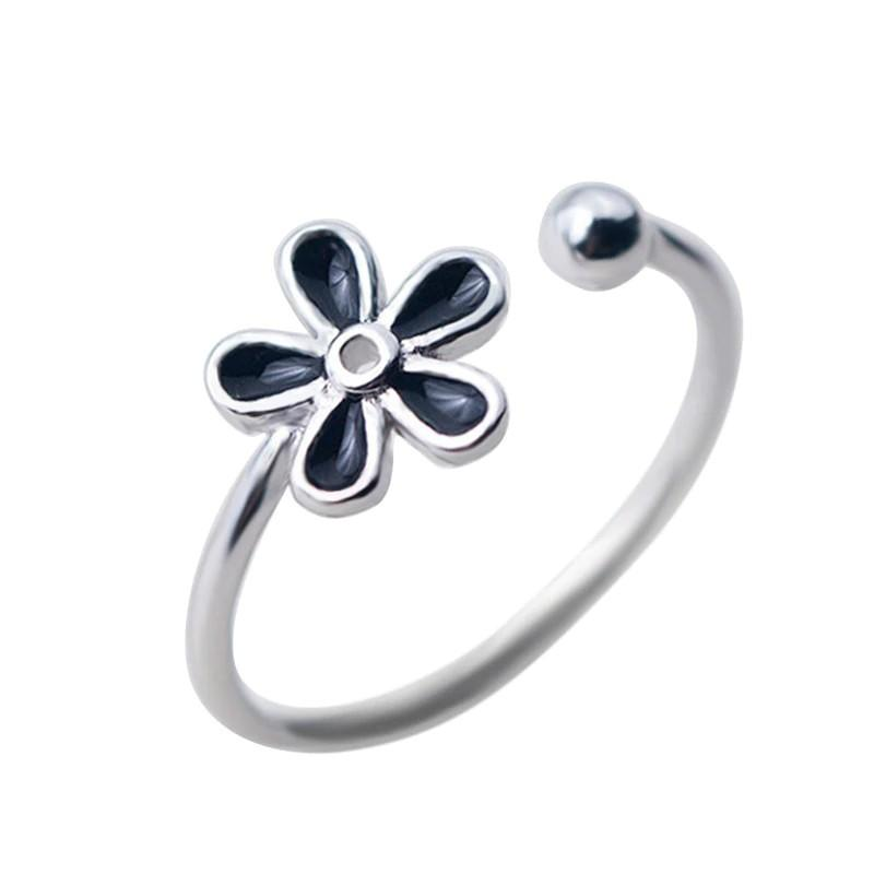 Sterling Silver Black Flower Ring - 925 Real Silver Ring - Classic Silver Ring - Adjustable Cocktail Ring Lux & Rose