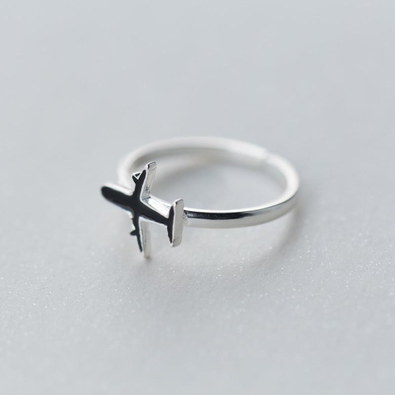 Sterling Silver Black Plane Ring - 925 Real Silver Ring - Classic Silver Ring - Travel Ring Lux & Rose
