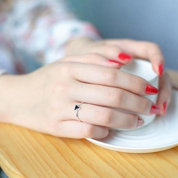 Sterling Silver Black Triangle Ring - 925 Real Silver Ring - Classic Silver Ring - Adjustable Cocktail Ring Lux & Rose