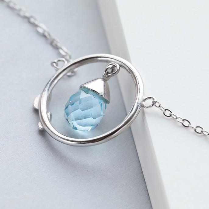 Sterling Silver Blue Crystal Drop Necklace - 925 Real Silver Necklace - Classic Silver Necklace Lux & Rose