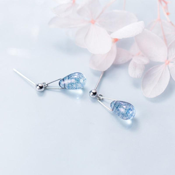 Sterling Silver Blue Drop Earrings - Waterdrop Earrings - Dangling Drop Earrings - Ocean Earrings - Ocean Teardrop Earrings - Blue Teardrop Earring Lux & Rose