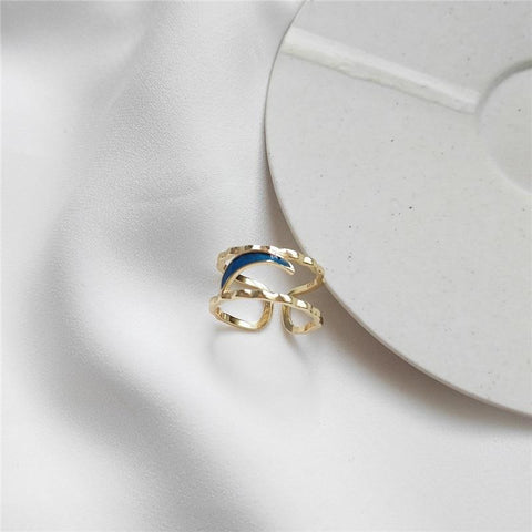 Sterling Silver Blue Enamel Moon Ring - 925 Real Silver Ring - Classic Silver Ring - Adjustable Cocktail Ring Lux & Rose