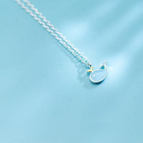 Sterling Silver Blue Fish Necklace - 925 Real Silver Necklace - Classic Silver Necklace Lux & Rose