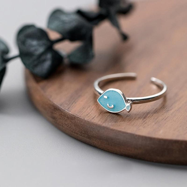 Sterling Silver Blue Fish Ring - 925 Real Silver Ring - Classic Silver Ring - Adjustable Cocktail Ring Lux & Rose