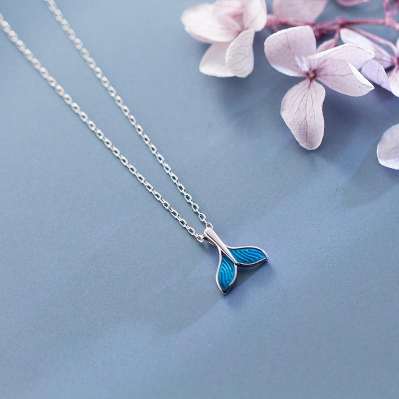 Sterling Silver Blue Fishtail Necklace - 925 Real Silver Necklace - Classic Silver Necklace Lux & Rose