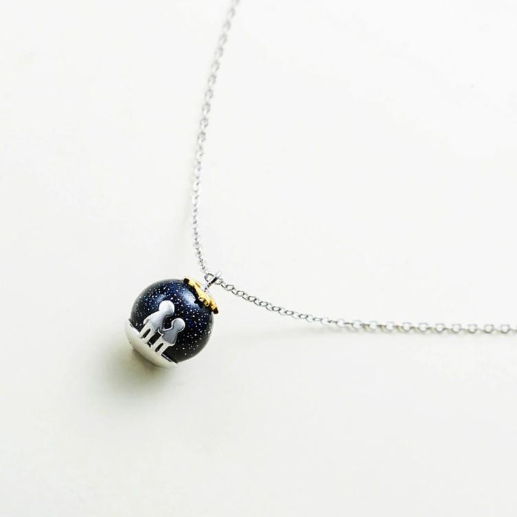Sterling Silver Blue Gravel Necklace - 925 Real Silver Necklace - Classic Silver Necklace Lux & Rose