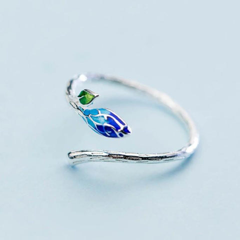 Sterling Silver Blue Leaf Branch Ring - 925 Real Silver Ring - Classic Silver Ring - Adjustable Cocktail Ring Lux & Rose