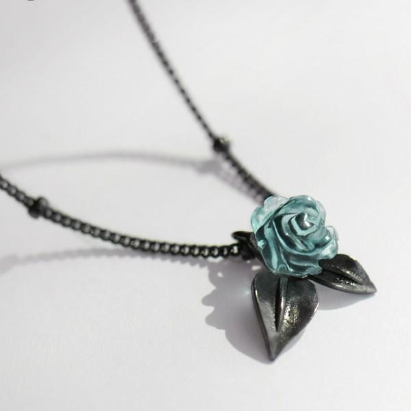 Sterling Silver Blue Rose Pendant Necklace - 925 Real Silver Necklace - Classic Silver Necklace Lux & Rose