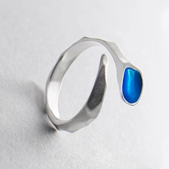 Sterling Silver Blue Water Edges Ring - 925 Real Silver Ring - Classic Silver Ring - Adjustable Cocktail Ring Lux & Rose
