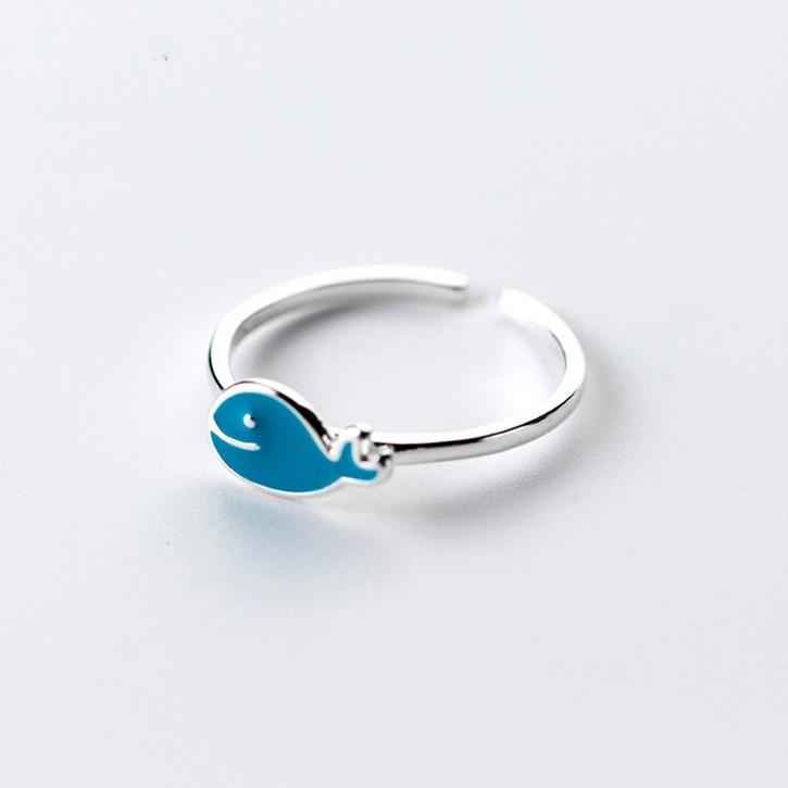 Sterling Silver Blue Whale Cocktail Ring - 925 Real Silver Rings - Classic Silver Rings Lux & Rose