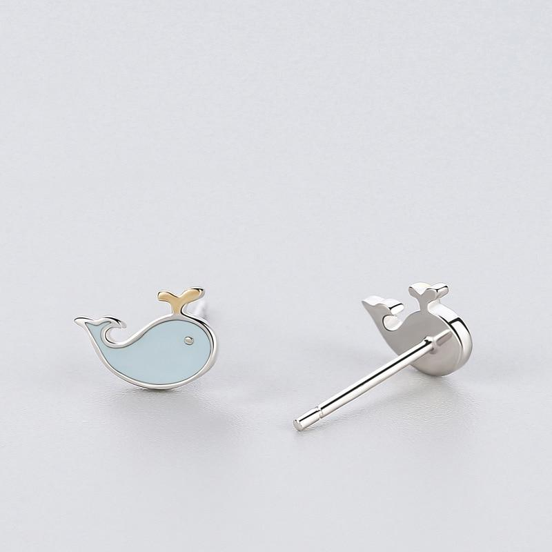 Sterling Silver Blue Whale Earrings - 925 Stud Earrings - 925 Real Silver Earrings - Playful Silver Earrings Lux & Rose