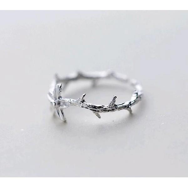 Sterling Silver Branch Flower Ring - 925 Real Silver Ring - Classic Silver Ring - Adjustable Cocktail Ring Lux & Rose