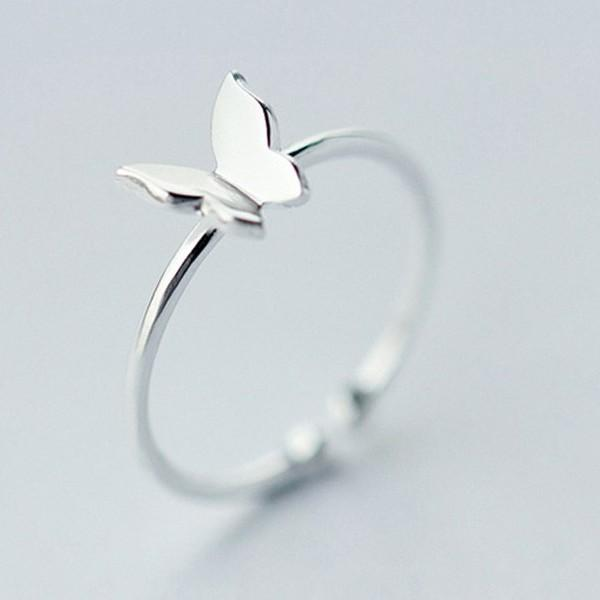 Sterling Silver Butterfly Cocktail Ring - 925 Real Silver Ring - Classic Silver Ring - Adjustable Cocktail Ring Lux & Rose