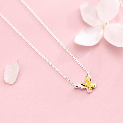 Sterling Silver Butterfly Pendant Necklace - 925 Real Silver Necklace - Classic Silver Necklace Lux & Rose