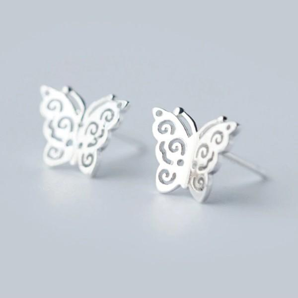 Sterling Silver Butterfly Stud Earrings - 925 Real Silver Earrings - Playful Silver Earrings Lux & Rose Default Title