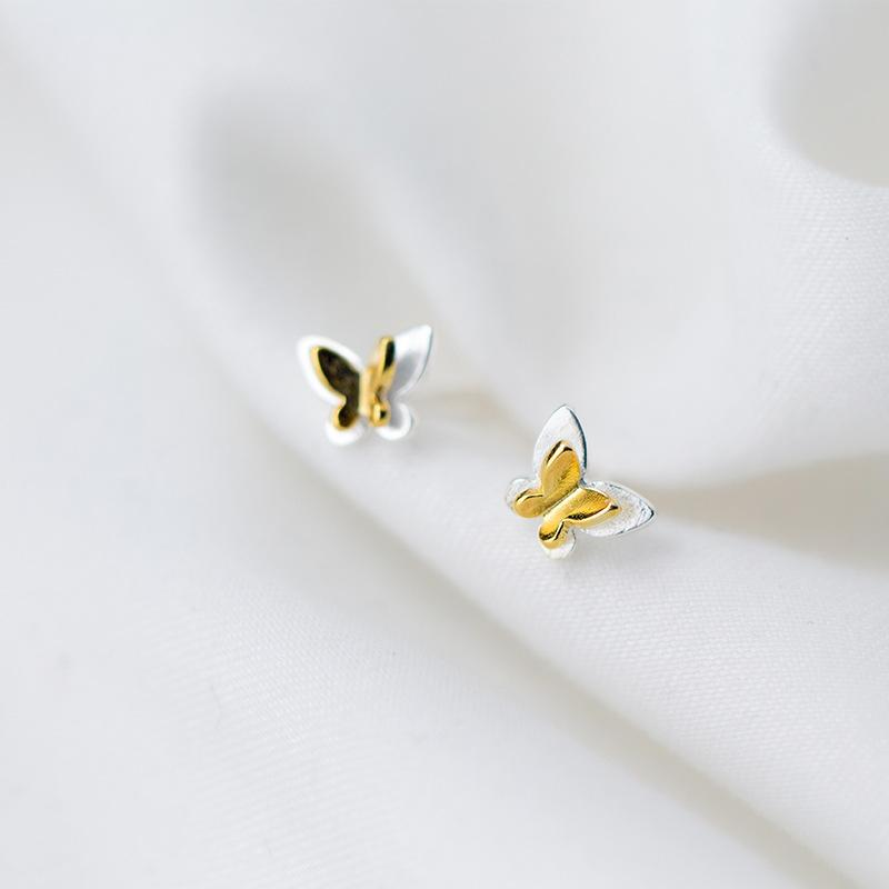 Sterling Silver Butterfly Stud Earrings - 925 Stud Earrings - 925 Real Silver Earrings - Playful Silver Earrings Lux & Rose