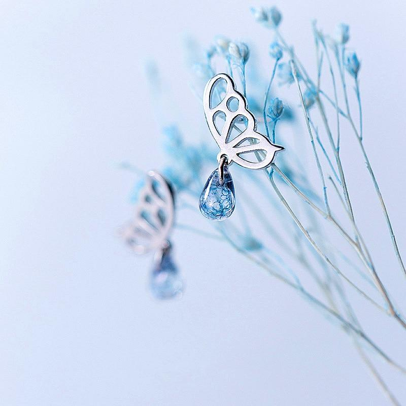 Sterling Silver Butterfly Waterdrop Earrings - Stud Dangle Earrings - 925 Real Silver Earrings - Playful Silver Earrings Lux & Rose