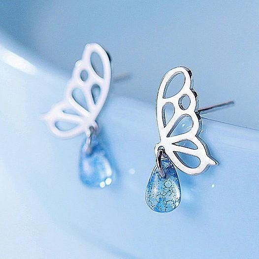 Sterling Silver Butterfly Waterdrop Earrings - Stud Dangle Earrings - 925 Real Silver Earrings - Playful Silver Earrings Lux & Rose Default Title