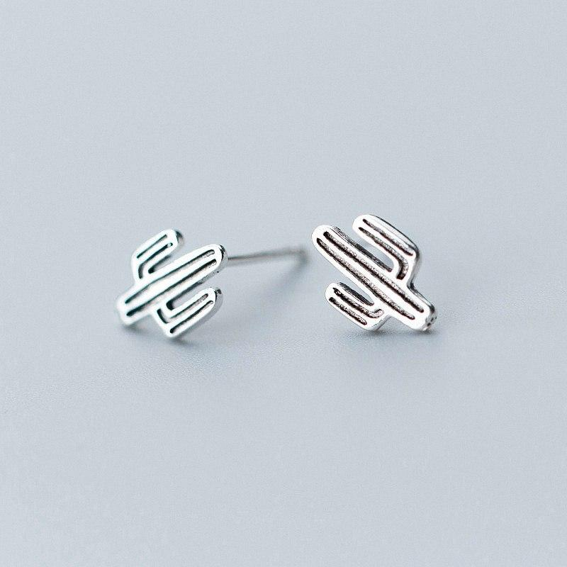 Sterling Silver Cactus Stud Earrings - 925 Stud Earrings - 925 Real Silver Earrings - Playful Silver Earrings Lux & Rose