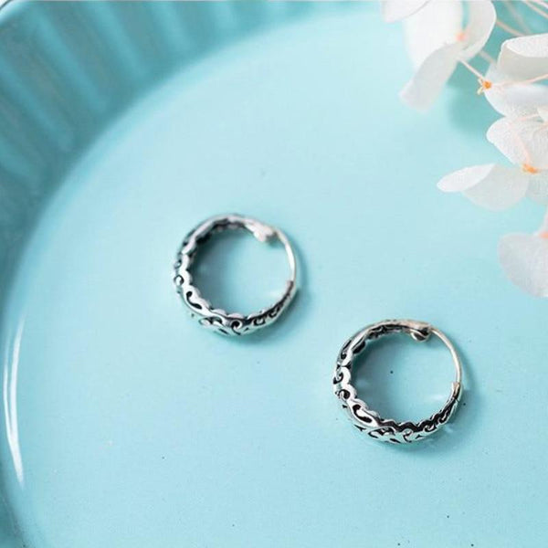 Sterling Silver Carved Flower Hoop Earrings - 925 Real Silver Earrings - Playful Silver Earrings - Hollow Hoop Earrings Lux & Rose