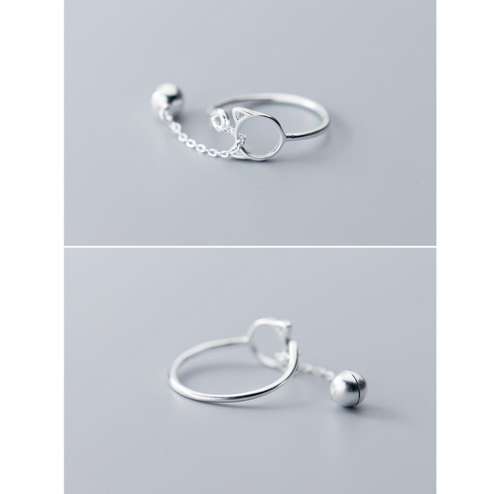 Sterling Silver Cat Bell Ring - 925 Real Silver Ring - Classic Silver Ring - Adjustable Cocktail Ring Lux & Rose