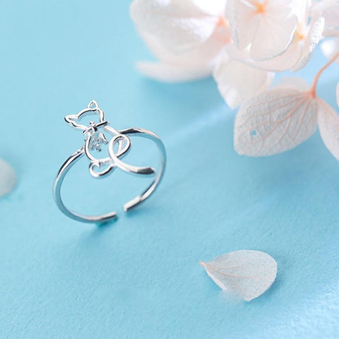 Sterling Silver Cat Cocktail Ring - 925 Cat Outline Ring - Real Silver Cutout Cat Ring - Cute Silver Rings Lux & Rose