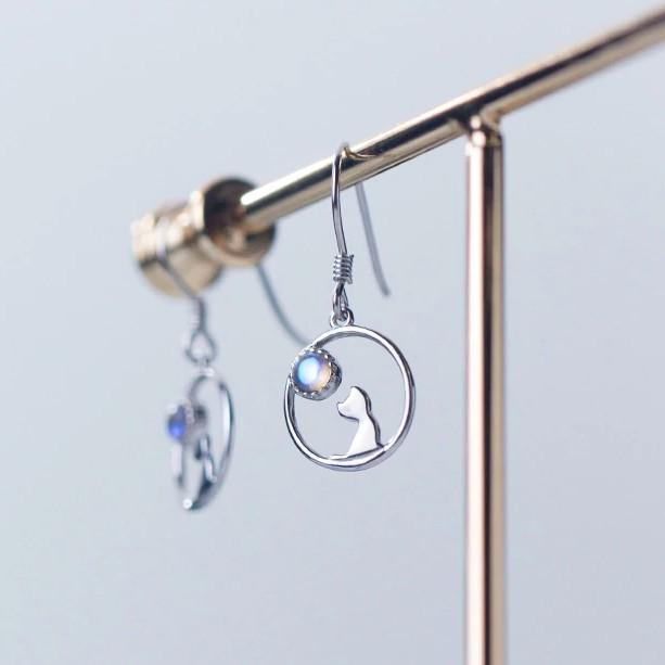 Sterling Silver Cat Pendant Moon Earrings - 925 Dangle Earring - 925 Real Silver Earrings - Playful Silver Earrings Lux & Rose