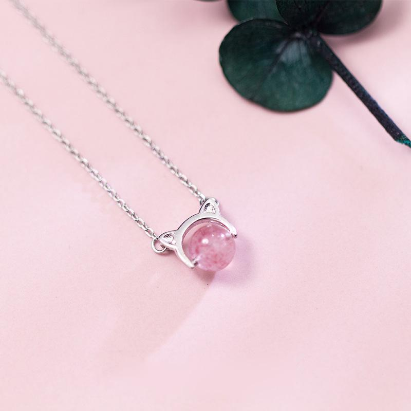 Sterling Silver Cat Strawberry Necklace - 925 Real Silver Necklace - Classic Silver Necklace Lux & Rose