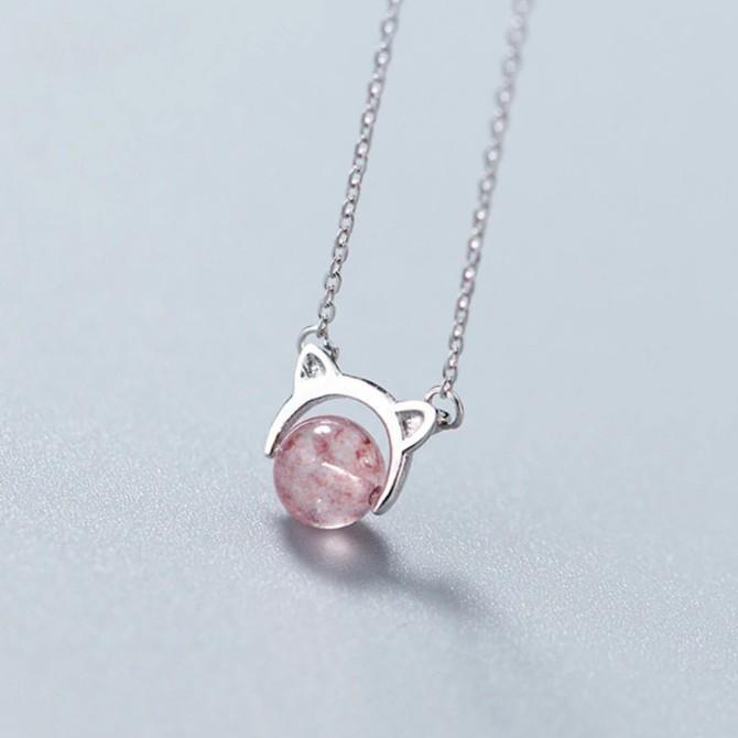 Sterling Silver Cat Strawberry Necklace - 925 Real Silver Necklace - Classic Silver Necklace Lux & Rose Default Title