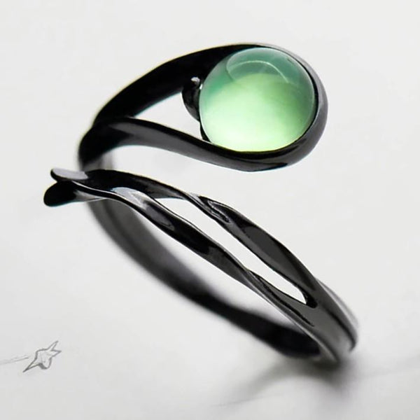 Sterling Silver Chalcedony Emerald Ring - 925 Real Silver Ring - Classic Silver Ring - Adjustable Cocktail Ring Lux & Rose