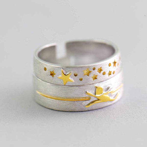 Sterling Silver Chasing Stars Ring - 925 Real Silver Ring - Classic Silver Ring - Adjustable Cocktail Ring Lux & Rose