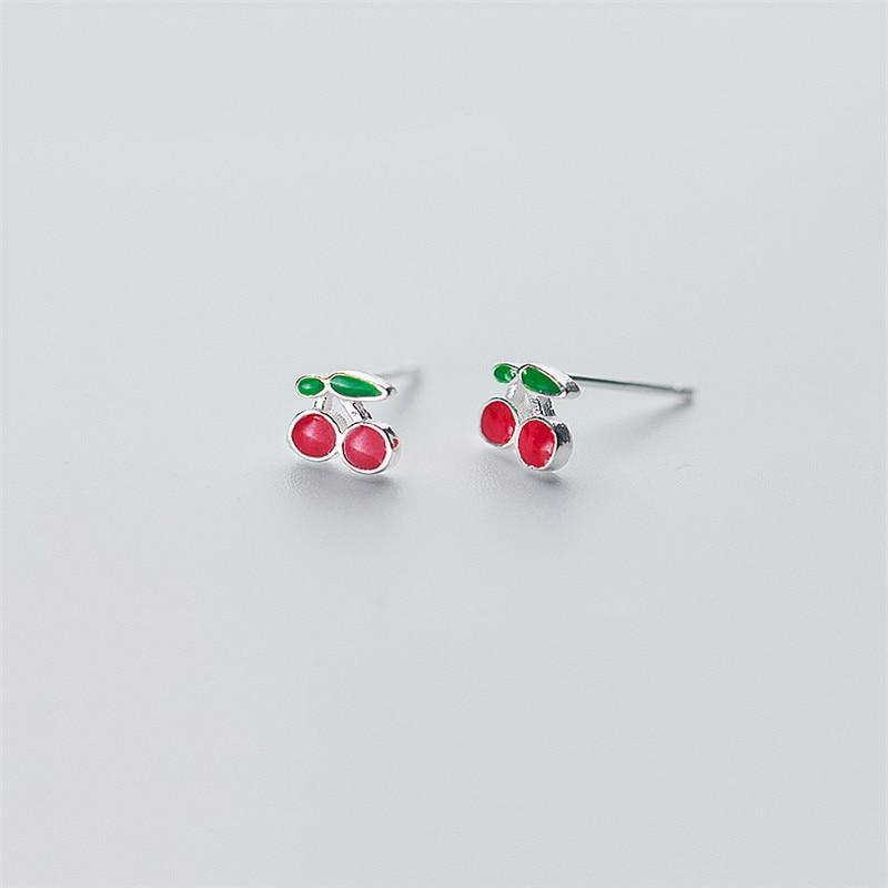 Sterling Silver Cherry Earrings - Rockabilly Studs - Fruit Stud Earring - Playful Silver Earrings Lux & Rose