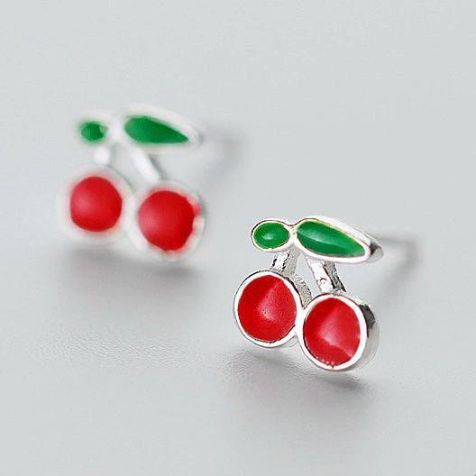 Sterling Silver Cherry Earrings - Rockabilly Studs - Fruit Stud Earring - Playful Silver Earrings Lux & Rose Default Title