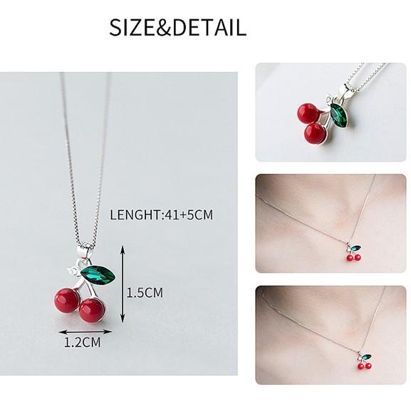 Sterling Silver Cherry Pendant Necklace - Rockabilly Necklace - 60s Jewelry Lux & Rose