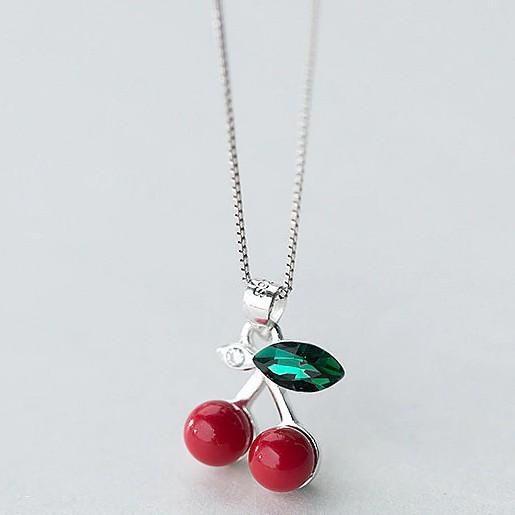 Sterling Silver Cherry Pendant Necklace - Rockabilly Necklace - 60s Jewelry Lux & Rose Default Title