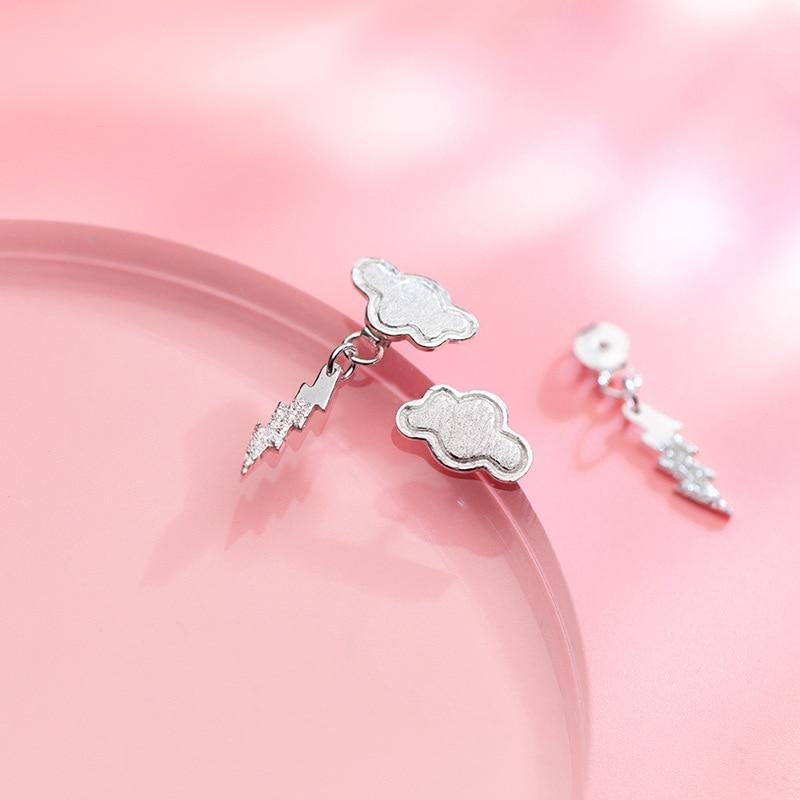 Sterling Silver Cloud Lightning Earrings - Cute Dangle Earrings - Playful 925 Real Silver Earrings Lux & Rose