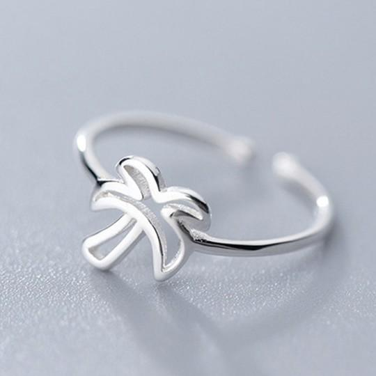Sterling Silver Coconut Tree Ring - 925 Real Silver Ring - Palm Ring - Adjustable Stacking Ring Lux & Rose