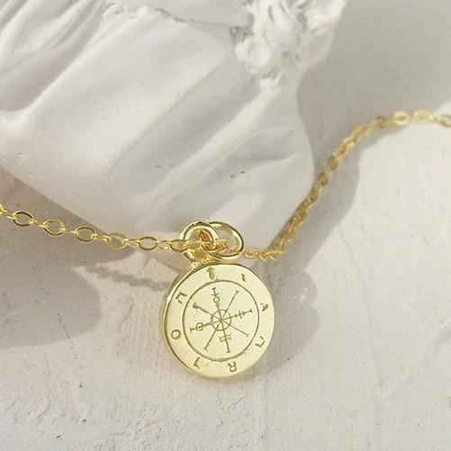 Sterling Silver Compass Pendant Necklace - 925 Real Silver Necklace - Golden Compass Necklace - Travel Jewelry Lux & Rose