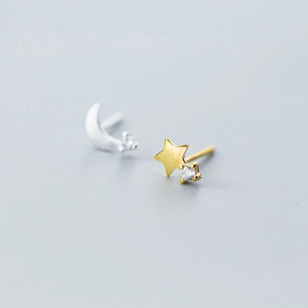 Sterling Silver Crescent Moon Brass Star Earrings - 925 Stud Earrings - 925 Real Silver Earrings - Playful Silver Earrings - Asymmetrical Earrings - Mix Matched Earrings Lux & Rose Default Title
