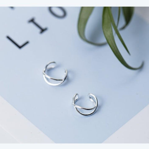 Sterling Silver Criss Cross Ear Cuff - X Ear Cuff - Twisted Ear Cuff - Ear Cuffs - Double Ear Cuff - Ear Cuff - 925 Real Silver Cuff Earrings - 925 Ear Cuff Clip Earrings - Ear Cuff No Piercing Lux & Rose