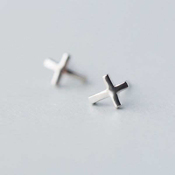 Sterling Silver Cross Earrings - 925 Real Silver Earrings - Cute Silver Earrings Lux & Rose Default Title